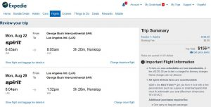 IAH-LAX: Expedia Booking Page ($157)
