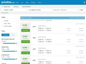 IAH-LAX: Priceline Booking Page ($167)