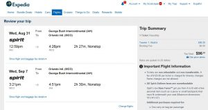 IAH-MCO: Expedia Booking Page