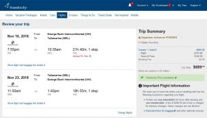 IAH-MEL: Travelocity Booking Page