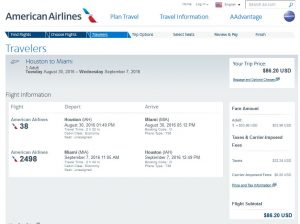 IAH-MIA: American Airlines Booking Page ($87)