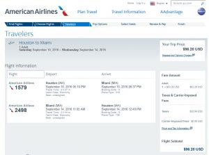 IAH-MIA: American Airlines Booking Page ($97)
