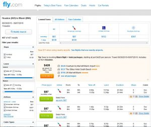 IAH-MIA: Fly.com Search Results ($87)