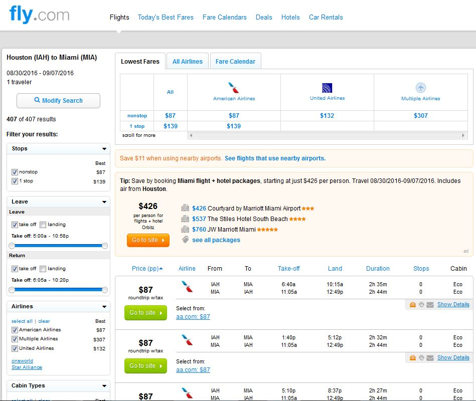 Search Results: $87-$137 -- Houston To Miami & San Diego Nonstop (R/T
