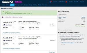 IAH-PVR: Orbitz Booking Page