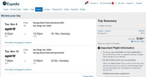 IAH-SAN: Expedia Booking Page ($127)