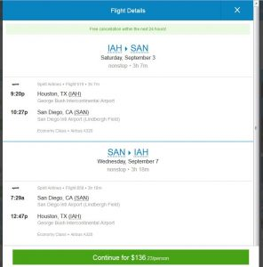 IAH-SAN: Priceline Booking Page ($137)