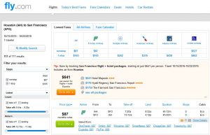 IAH-SFO: Fly.com Search Results