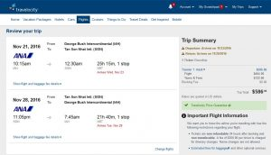 IAH-SGN: Orbitz Booking Page ($587)