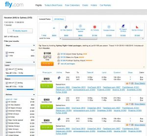 IAH-SYD: Fly.com Search Results