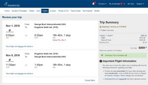 IAH-SYD: Travelocity Booking Page