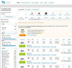 LAX-JNB: Fly.com Search Results (MAR)