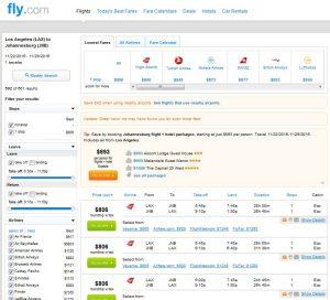 LAX-JNB: Fly.com Search Results (NOV)