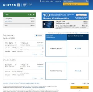 Los Angeles to Miami: United Airlines Booking Page