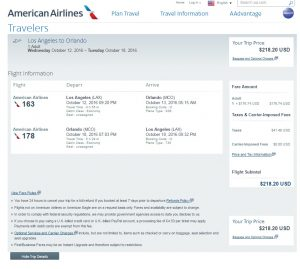 Los Angeles to Orlando: American Airlines Booking Page