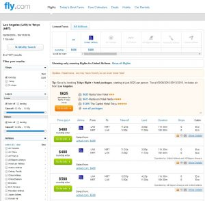Los Angeles to Tokyo: Fly.com Results