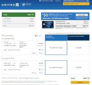 Los Angeles to Tokyo: United Booking Page