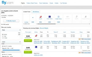 Los Angeles to Zurich: Fly.com Results