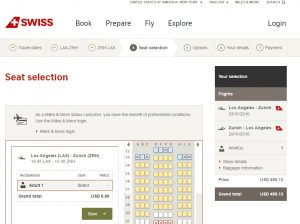 Los Angeles to Zurich: SWISS Booking Page