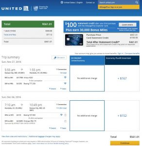 MCI-HNL: United Airlines Booking Page