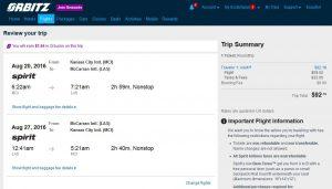 MCI-LAS: Orbitz Booking Page ($93)