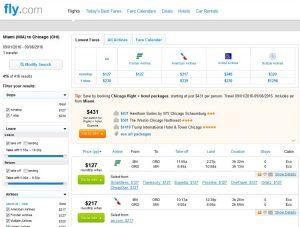 MIA-CHI: Fly.com Search Results