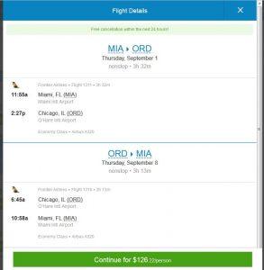 MIA-CHI: Priceline Booking Page
