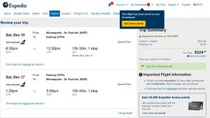 MSP-CPH: Expedia Booking Page