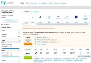 MSP-CPH: Fly.com Search Results