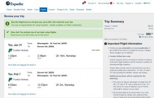 MSP-DEN: Expedia Booking Page