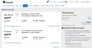 MSP-FLL: Expedia Booking Page ($107)