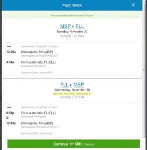 MSP-FLL: Priceline Booking Page ($97)