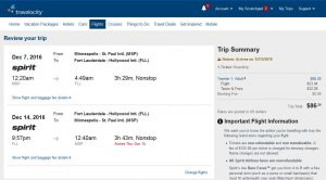 MSP-FLL: Travelocity Booking Page ($87)