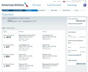 MSP-KOA: American Airlines Booking Page