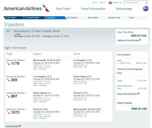 MSP-LIH: American Airlines Booking Page