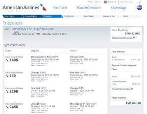 MSP-NYC: American Airlines Booking Page