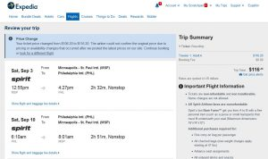 MSP-PHL: Expedia Booking Page