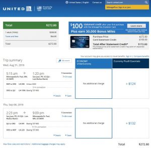 MSP-SJU: United Airlines Booking Page