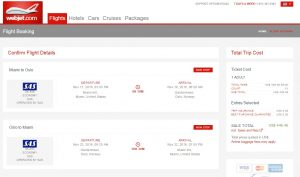 Miami to Oslo: WebJet Booking Page