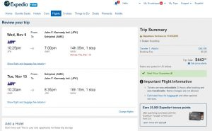 NYC to Amsterdam: Expedia Booking Page