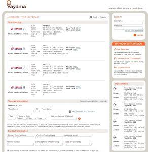 NYC to Manila: Vayama Booking Page