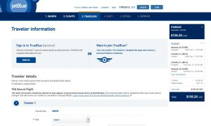 NYC to Orlando: JetBlue Booking Page