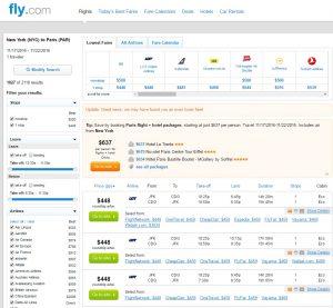 NYC to Paris: Fly.com Results