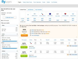 NYC to San Juan, Puerto Rico: Fly.com Results