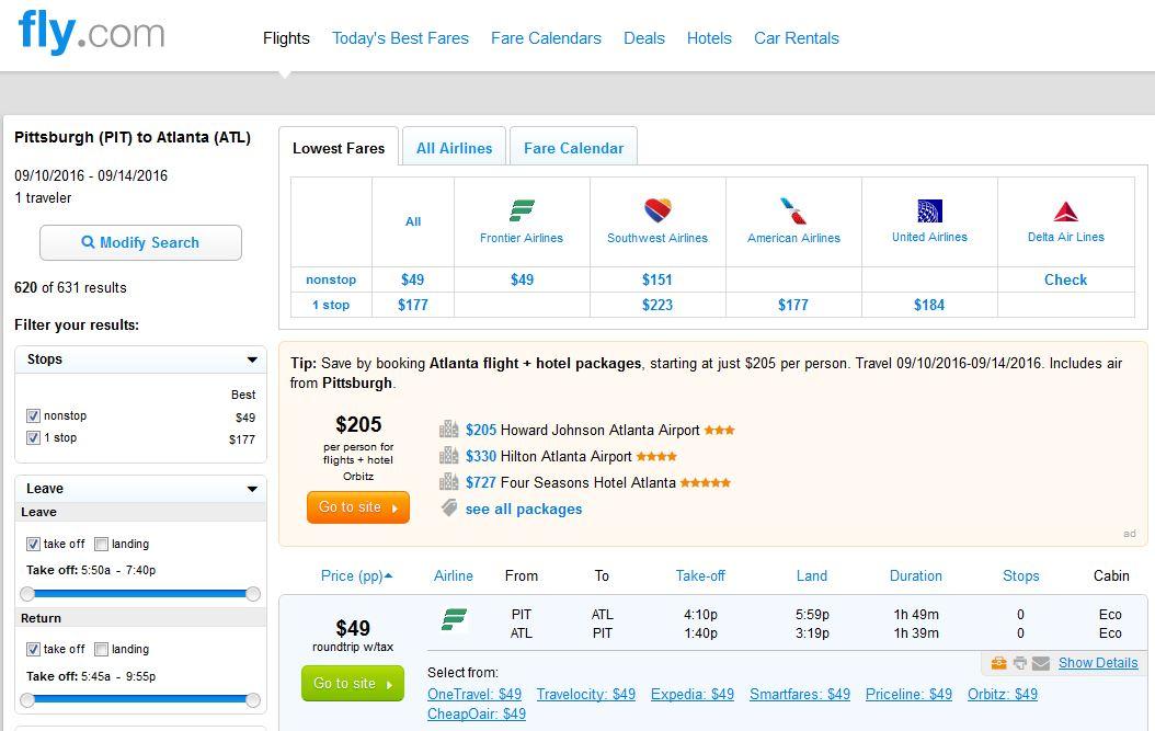 atl to pitt flight deals