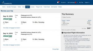 PIT-ATL: Travelocity Booking Page