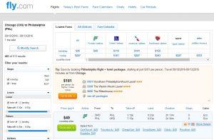 Philadelphia to Chicago: Fly.com Results