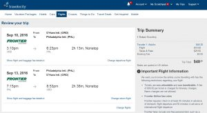 Philadelphia to Chicago: Travelocity Booking Page