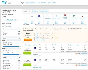 Philadelphia to Los Angeles: Fly.com Results
