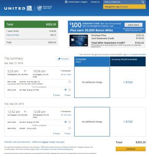 Philadelphia to Los Angeles: United Booking Page